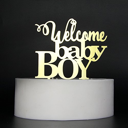 LOVELY BITON Gold Welcome Baby Boy Cake Topper Shining Numbers Letters for Wedding, Birthday, Anniversary, Party.