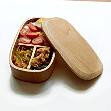 Environmental Portable Ellipse Wooden Lunch Box For Student,Home Use Sushi Food Storage Tableware Bowl