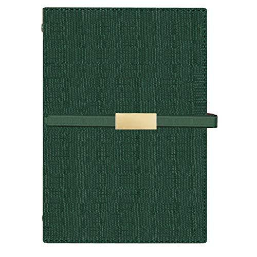 Huanou Diario De Viaje del Cuaderno Carpeta De Anillas Oficina PU De Cuero Tapa Dura Cuaderno de composición(Verde)