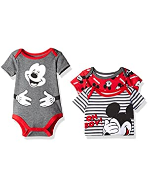 Disney Baby Boys' 3 Pack of Mickey Mouse Bodysuits
