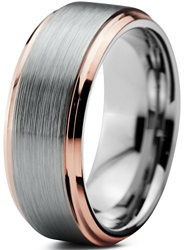 Charming Jewelers Tungsten Wedding Band Ring 8mm Men Women Comfort Fit 18k Rose Gold Step Edge Brushed Polished Size ()
