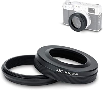 Metal Material and Black Color JJC LH-X100 Lens Hood Sun Shade with 49mm Filter Adapter Ring for Fuji Fujifilm X100V X100F X100T X100S X100 Digital Camera