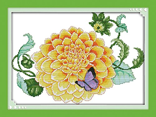 AngelGift Needlecrafts Stamped Counted Cross Stitch Set, Plant - Blooming Hydrangea and Butterfly (Butterfly Hydrangea)