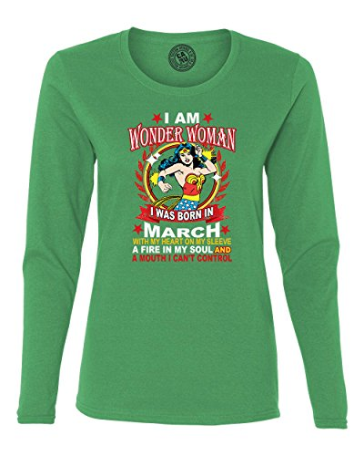 Wonder Woman Born In March Superhero Womans Long Sleeve T Shirt Kelly Green M