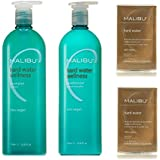 Bundle - 3 items: Malibu Hard Water Wellness Shampoo & Conditioner Liter Duo & Hard Water Weekly Demineralizer, 24 packets