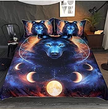 Feelyou 3D Animal Print Duvet Cover Set King Size Wolf Bedding Set Decorative Luxury Microfiber Polyester Comforter Cover Galaxy Dream Catcher Print Quilt Cover with 2 Pillow Shams 3 Pcs Blue