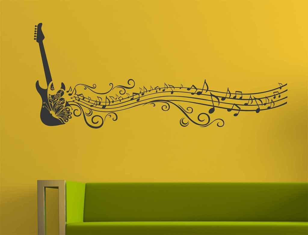 Buy Decals Design \'Musical Notes of Guitar and Butterfly for Music ...