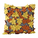Hallmark Home Decorative Throw Pillow with Insert (16x16) Gray with Gold and Burnt Orange Laser-Cut Leaves