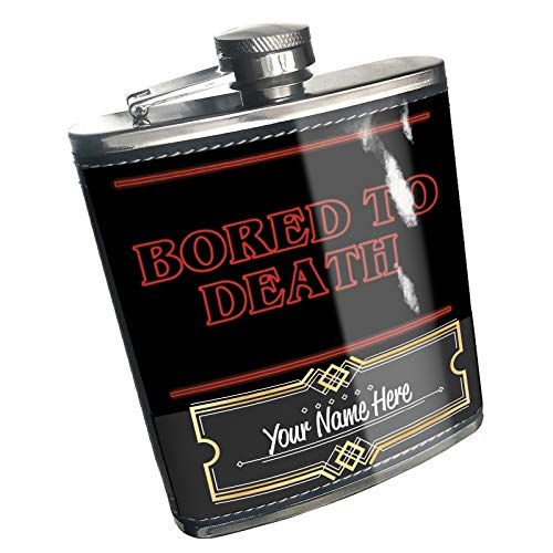 Neonblond Flask Bored to Death Halloween Strange and Spooky Custom Name Stainless -