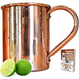 Moscow Mule Copper Mug - 16 oz.- 100% Copper Enhances Taste While Keeping Your Drink Ice Cold - Sturdy Riveted Handle - No Inside Liner - *BONUS* Ebook