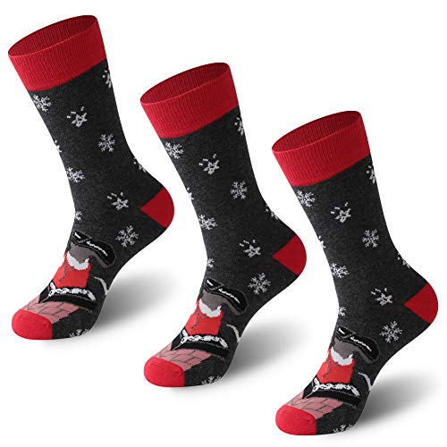 Crazy Printed Holiday Dress Socks, FOOTPLUS Men Women Breathable Mid-Calf Warm Funny Winter Casual Indoor & Outdoor Socks, Christmas Party Socks, 3 Pairs Santa, Snowflake, Large