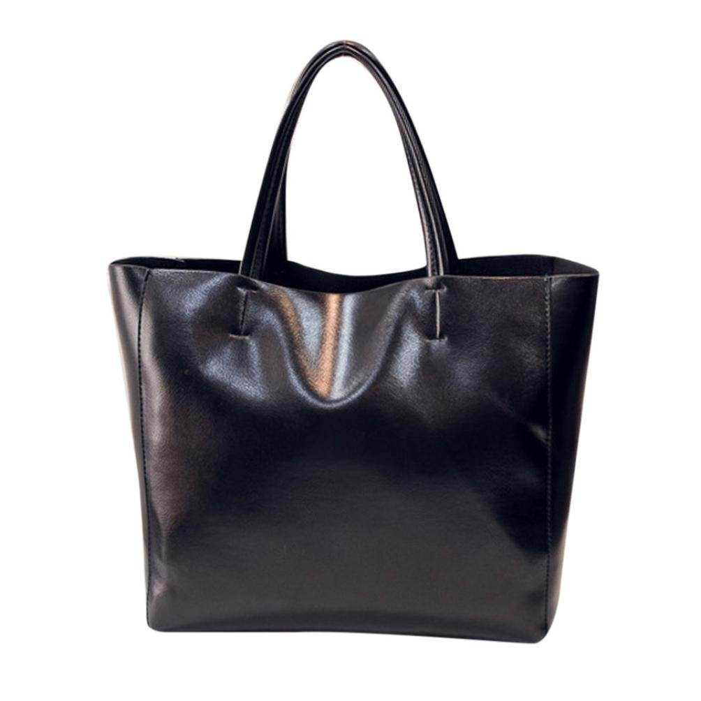 Tote Handbag ღ SanCanSn Solid Color Pure Color Bag Handbag Mother Bag Shoulder Bag Messenger Bag (1PC, Black)