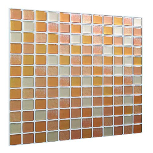 Peel and Stick Backsplash Tiles Wall Stickers Mosaic Tiles Decorative 3D Wall Decor Tiles for Bathroom Kitchen Backsplash Wall Cover Waterproof Orange White Mosaic Color(10 Tiles)