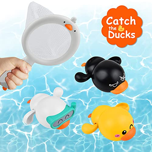 LiKee Baby Bath Toys Floating Wind-up Ducks Swimming Pool Games Water Play Set Gift for Bathtub Shower Beach Infant Toddlers Kids Boys Girls Age 1 2 3 4 5 6 Years Old (3 Ducks& 1 Net)