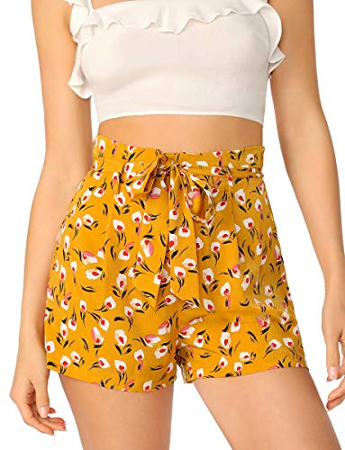 Romwe Petite Women Ditsy Floral Print Paperbag Waist Belted Shorts Yellow S -