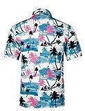 APTRO Men's Hawaiian Shirt Short Sleeve Flower