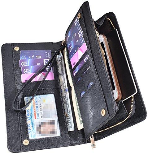 Women Lady Leather Wallet Zipper Purse RFID Credit Card Clutch Holder Case Girl (Crosshath Black)