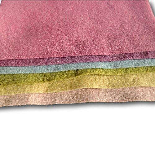100% kbt Sheeps Wool, Plant Dyed, Bioland Felt Sheets - 6 pcs assorted pastel colors 15x20cm (6x7.8
