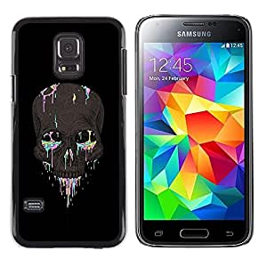 Be Good Phone Accessory // Dura Cáscara cubierta Protectora Caso Carcasa Funda de Protección para Samsung Galaxy S5 Mini, SM-G800, NOT S5 REGULAR! // Colorful Skull Black Grey Paint