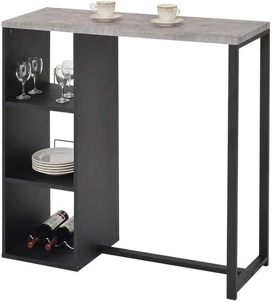 Meubletmoi Table Haute De Bar En Bois Noir Et Plateau Effet Beton