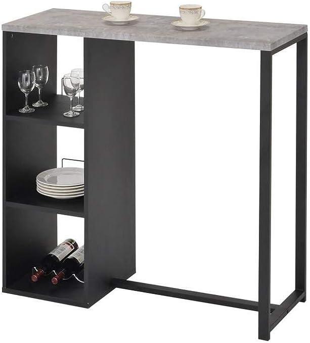 Muebletmoi - Mesa alta de bar de madera negra y bandeja efecto ...