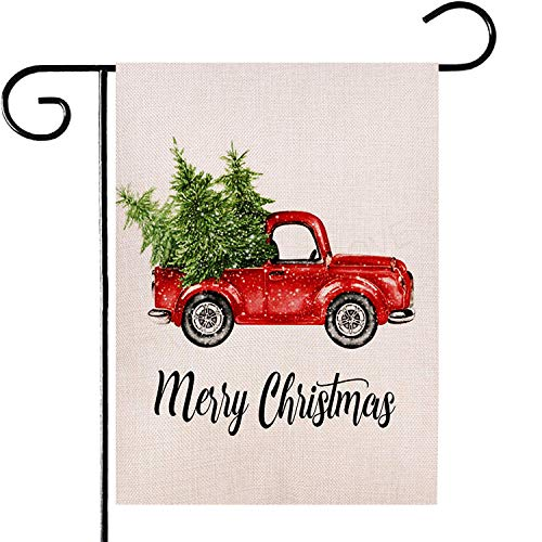 Deloky Merry Christmas Garden Flag-12.5 x 18 Inch Double-Sided Printed Xmas Tree Yard Burlap Banner, Outdoor Artificial Flag for Home,Winter Garden Yard Decoration(Not Included Stand) (Flags Yard Small Christmas)