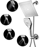 DSIKER®3-Way Spiral Rainfall Shower-Head/Handheld Shower Combo. Convenient Push-Control Flow Control Button for easy one-handed operation ,Double Interlocked Stainless Steel Hose and Water Diverter