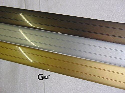 GedoTec® Übergangsprofil Übergangsschiene Bodenprofil Aluminium flach selbstklebend | Breite 37 mm | 3 Farben | 100 cm | Markenqualität für Ihren Wohnbereich (Aluminium messing eloxiert)