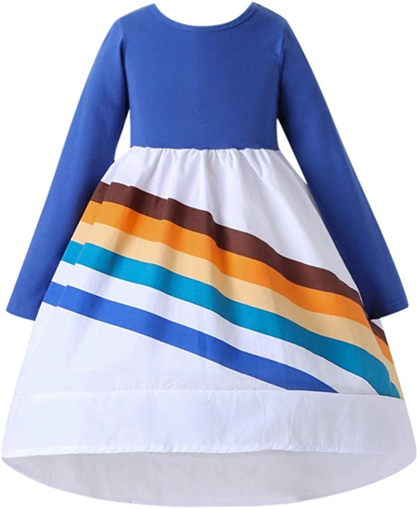 Hiheart Girls Rainbow Cotton Hoodies Long Sleeve Outfit Dress