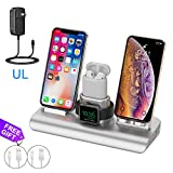 Wireless Charger for iPhone charging station for Apple, Wireless Charging Pad Stand for iPhone, Charger Dock Station Holder for Apple Watch Charger Series 4/3/2/1/iPhone Xs/X Max/XR/X/8 Plus/6/AirPods