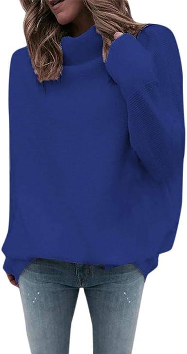 Overdose Jersey De Cuello Alto Mujer Abrigo Mujer Largo Manga Puente Largo Suéter Blusa De La Tapa Color Sólido Simple Y Camisa Ocasional con Estilo: Amazon.es: Ropa y accesorios