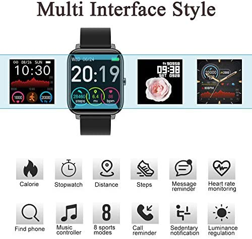 Smart Watch, Fitness Tracker with 1.4inch Full Touch Screen, Smartwatch for Men Women Sleep Monitor Step/Calorie Counter Activity Tracker Stopwatch, IP67 Waterproof Fitness Watch for iOS, Android 6