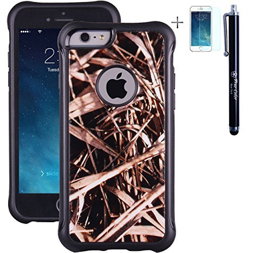 """iPhone 6 6s Case True Color Grass Hunter Real HD Tree Camo Emboss Printed Impact Resistant TPU Protective Anti-slip Grip Snap-On Soft Rugged Cover for iPhone 6/6s (4.7"""")+FREE Stylus & ScreenProtector"""