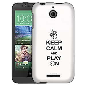 HTC Desire 510 Case, Slim Fit Snap On Cover by Trek KEEP CALM And Play On - Tennis on White Case