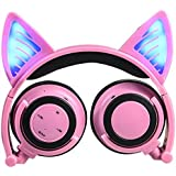 Cat Ear Headphones,SNOW WI Wireless Bluetooth Flashing Glowing Cosplay Fancy Cat Headphones Foldable Over-Ear Earphone with LED Flash light for iPhone 7/6S/iPad,Android Mobile Phone,Macbook(Pink)