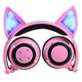 GOGOING Cat Ear Headphones, Bluetooth Headset with LED Flash Wireless/Wired Mode, Foldable Soft Over-Ear Built-in Mic Earphone fit iPhone, Android Mobile Phone,iPad,Laptops Ect(Pink)