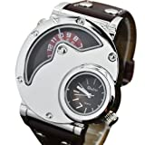 Oulm Sport Men Quartz Dual Time Zone Brown Leather Band Luxury Wrist Watch Hours Analog, Watch Central