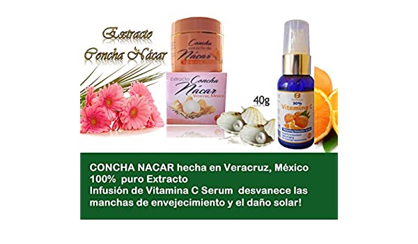 Amazon.com : 1 Jar Concha Extract Nacar made in Veracruz, Mexico + Infusion Vitamin C Serum : Beauty