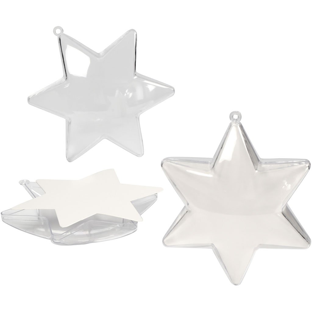 A 5ud transparente Estrella decorativa 10 cm