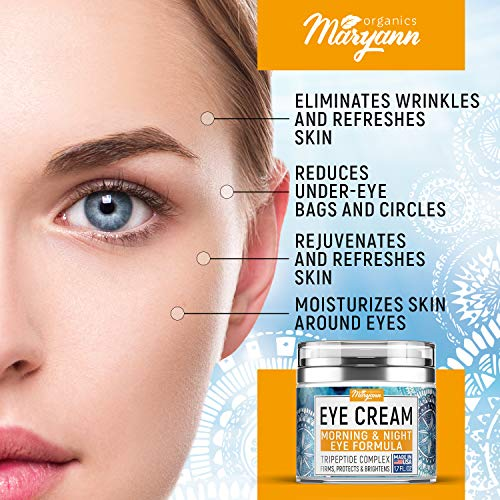 51lUpo8cqvL - MARYANN Organics Eye Cream - Natural Formula with Hyaluronic Acid, Vitamin E & Aloe Vera - Made in USA - Anti Aging Cream for Women - Reduce Dark Circles, Puffiness, Under Eye Bags, Wrinkles - 1,7 OZ