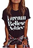 ZAWAPEMIA Womens Cotton Letter Printed Casual T-Shirt Top Black US XL