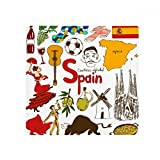 DIYthinker Spain Landscap Animals National Flag Anti-slip Floor Pet Mat Square Bathroom Living Room Kitchen Door 60/50cm Gift