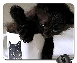 A black kitten in a mug Mouse Pad, Mousepad (Cats Mouse Pad, 10.2 x 8.3 x 0.12 inches)
