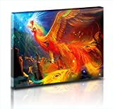 Huge Pictures Thousands of Beautiful birds worship Phoenix Beautiful Illustration Oil Paintings Prints on Canvas Home Wall Deccor Pictures for Living Room (20''x32'', NO FRAMED)