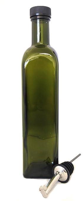 NiceBottles   Olive Oil Dispenser With Stainless Steel Flip Top Pourer,  Dark Green, Square