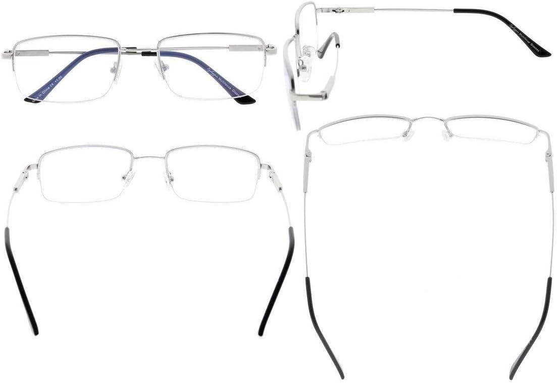 Eyekepper Met/à-bordo Progressivo Lettori 3 livelli Visione Multifocus Occhiali Anti UV Lettura Occhiali da Uomini Bendable Memoria Montatura Argento, 2.00