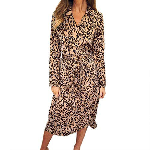 WOCACHI Dresses for Womens, Womens Leopard Print V