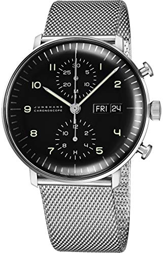 - Junghans Max Bill Chronoscope Mens Day Date Automatic Chronograph Watch - 40mm Analog Black Face Classic Watch with Luminous Hands - Stainless Steel Mesh Band Luxury Watch Made in Germany 027/4500.45