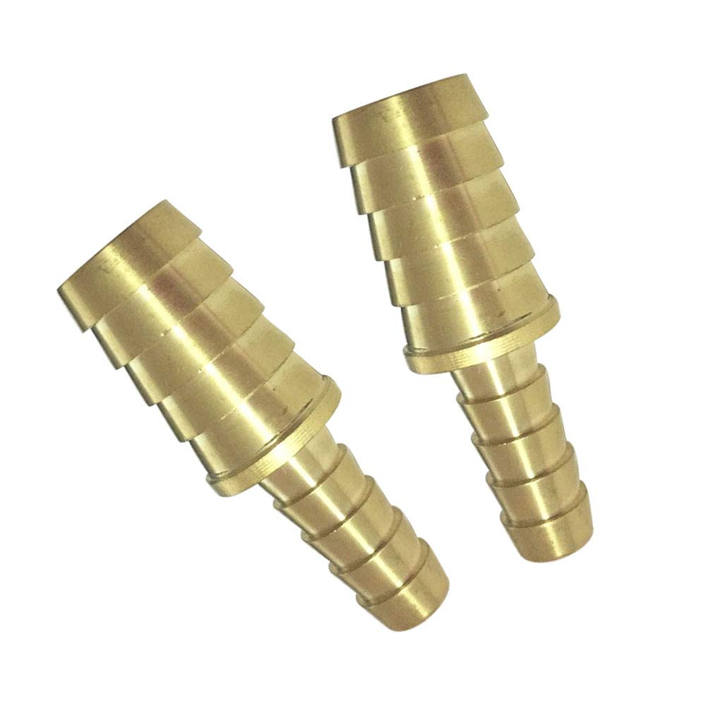 "1/4"" x 1/8"" Hose ID Barb Reducer Splicer/Union/Mender/Joiner Brass Barbed Fitting Fuel/AIR/Water/Oil/Gas/WOG 2pcs"