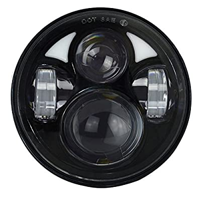 The Aftermarket LED Headlight Conversion Kits with White DRL & Half Halo Ring Angel Eye & Amber Turning Signal Lights is a high performance upgrade LED headlight for factory headlights.